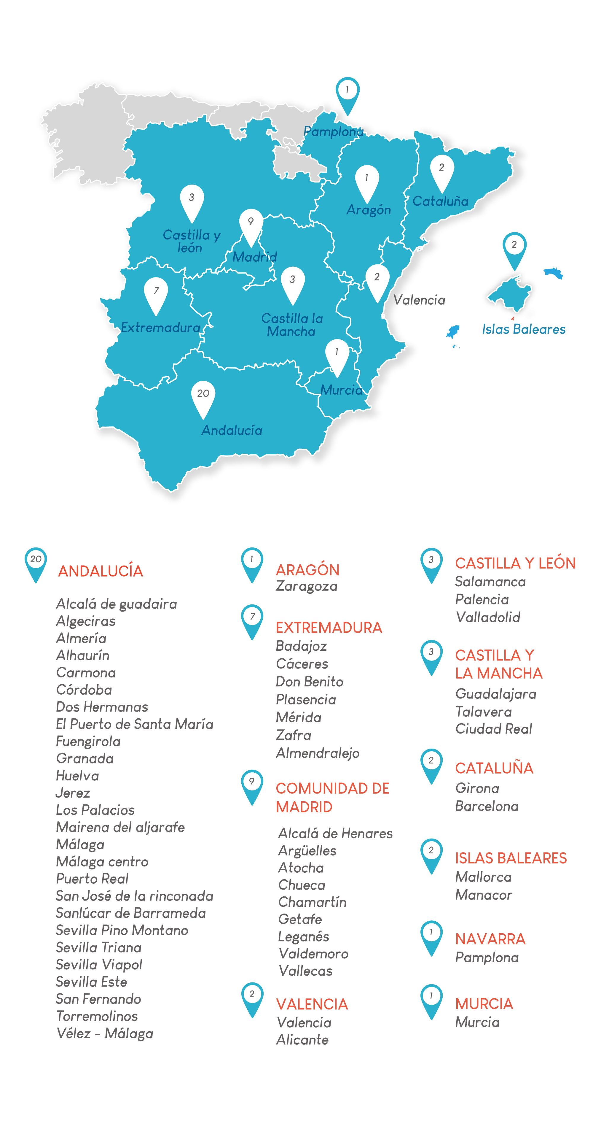 Mapa de los sesenta centros Láserum repartidos por todo el territorio español